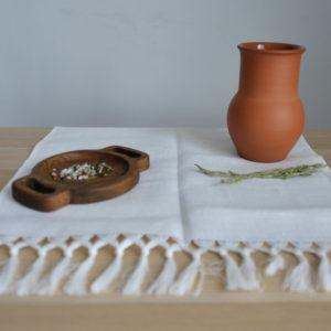 Кухонное полотенце из льна белое