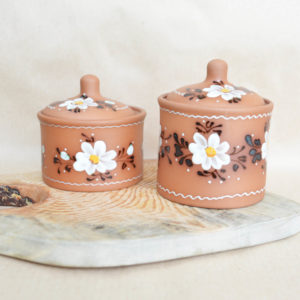 Глиняная банка для круп (0,45л) цветы