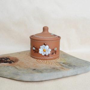Глиняная банка для круп (0,35л) цветы