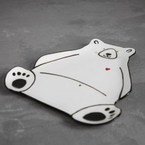 Тарелка 'Белый мишка' (21х20см)