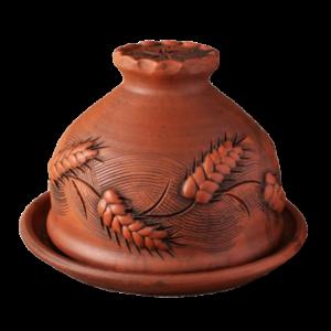 Блинница глиняная 'Колоски' (24см)