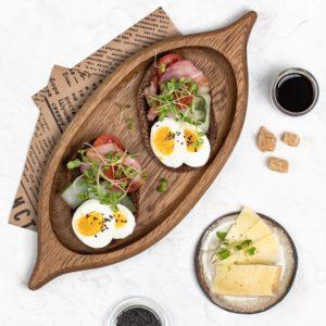 Деревянная тарелка 'Лодочка' орех