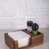 Деревянная салфетница + соль и перец (орех)